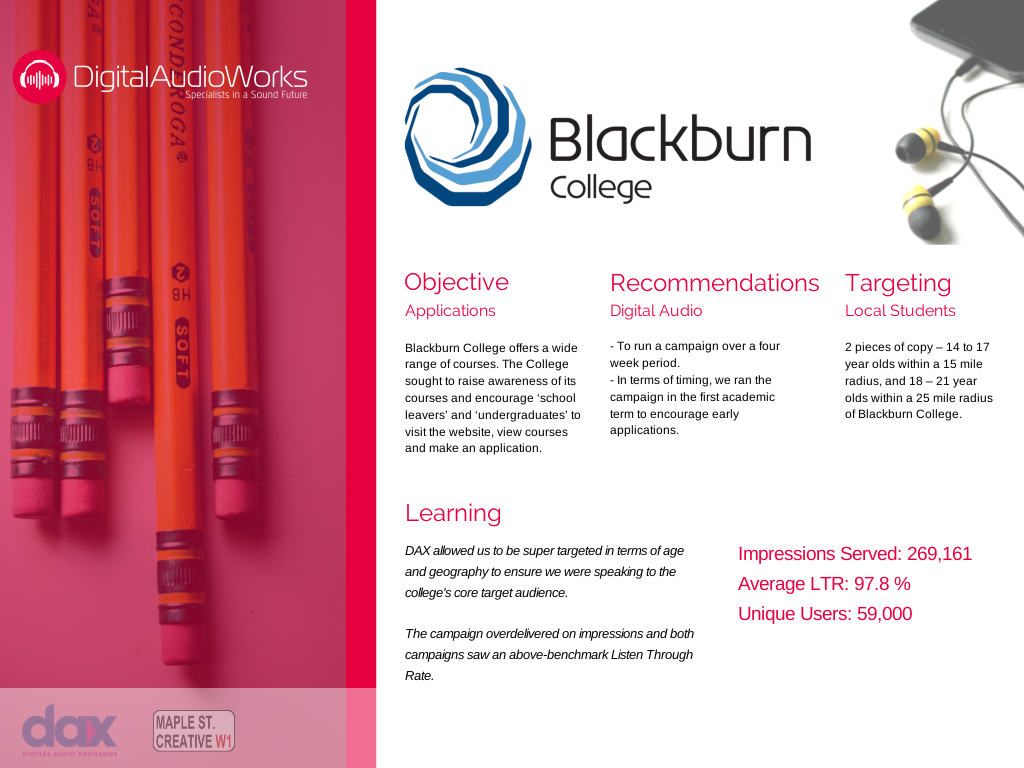 Digital Audio Works Case Study, Blackburn College, using DAX